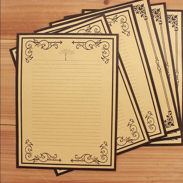 韩国款信纸 欧式复古牛皮纸精美花边信纸 中国风信纸古风信笺套装