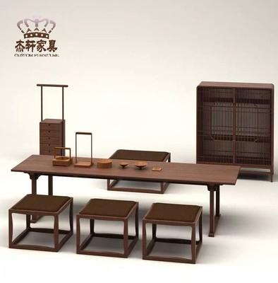 老榆木茶桌椅组合新中式实木仿古泡茶台禅意茶艺桌工作室茶楼家具