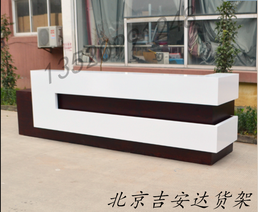 设计定做木质烤漆收银台吧台亮光面柜台饭店前台理发店接待台北京