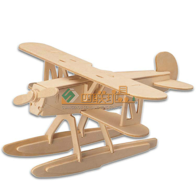 四联玩具木制飞机模型汉克尔diy木质益智儿童玩具