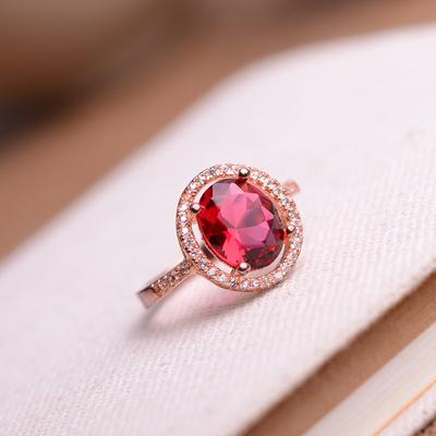 红宝石戒指天然巴西进口红碧玺戒指 玫瑰金镶嵌宝石指环图片