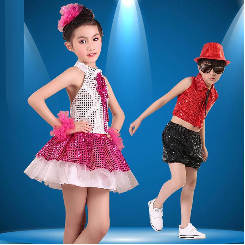 新款儿童演出服现代爵士舞服装舞台表演服亮片领带套装合唱男女款图片图片