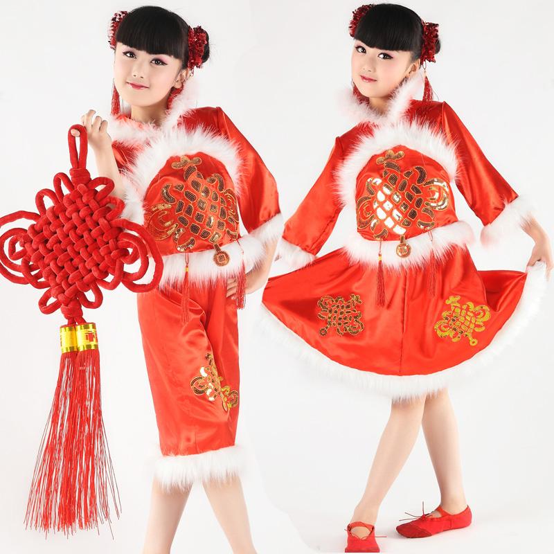 新款元旦女童喜庆表演服开门红过年服儿童舞蹈服少儿唐装演出服装