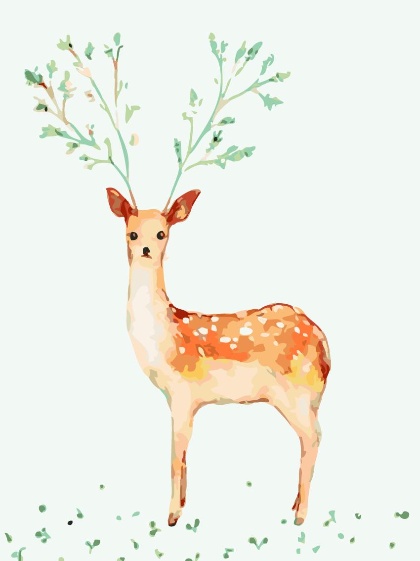 填色diy数字油画包邮 客厅风景卡通动物大幅手绘装饰画 梅花小鹿
