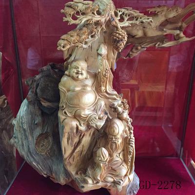 崖柏福禄寿人物雕刻根雕手工艺整体树根批发东阳福州木雕送礼摆件