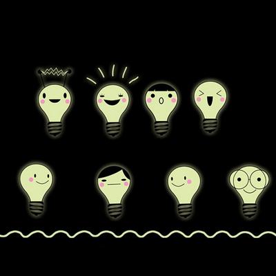 可爱卡通小灯泡夜光贴纸表情荧光墙贴儿童房幼儿园夜晚发光自黏贴