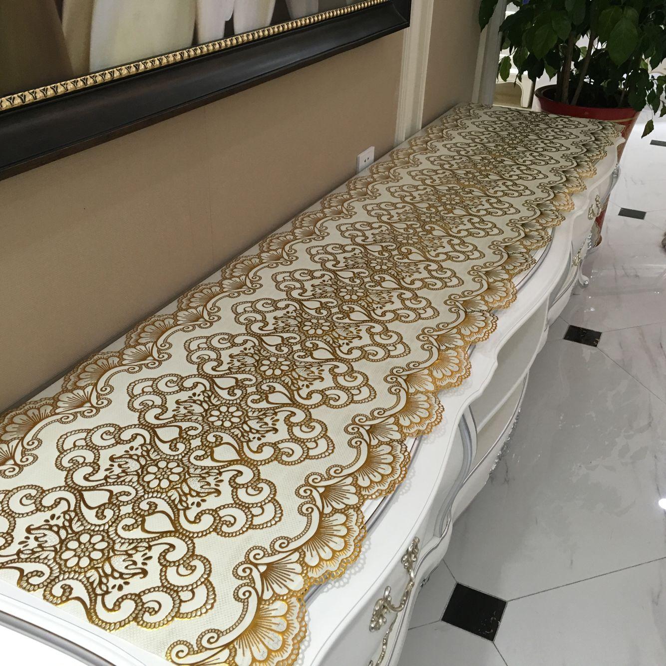 pvc餐桌布茶几装饰垫 镂空免洗台布电视柜垫欧式电视柜桌布