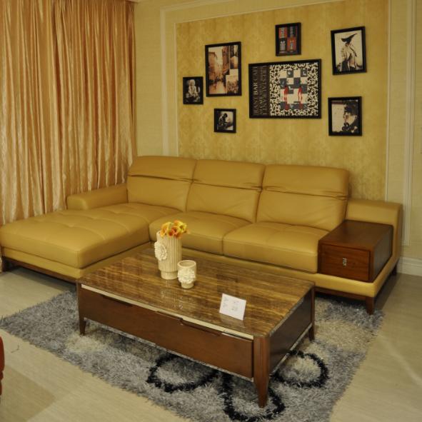 沙发 头层牛皮沙发 带储物柜小户型沙发组全 实木高脚3米长沙发