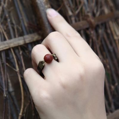 红豆戒指 牛皮绳手工原创复古民族风混搭欧美创意个性 相思豆指环