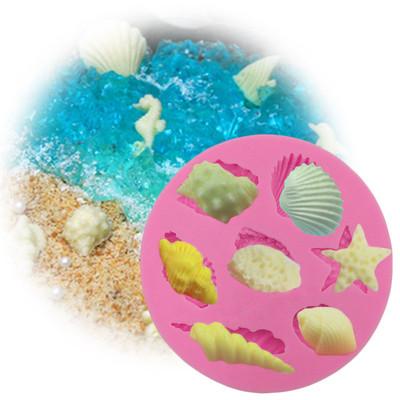 正的 翻糖烘培diy 海螺贝壳矽胶模具 巧克力软陶粘土海洋蛋糕