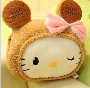 专柜/正品 /可爱kitty猫咪毛绒公仔头暖手/靠垫插手/抱枕布娃娃
