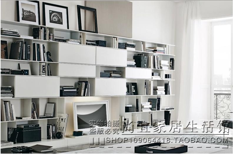 时尚简约现代书柜电视柜背景墙书架白色钢琴烤漆自由组合置物柜