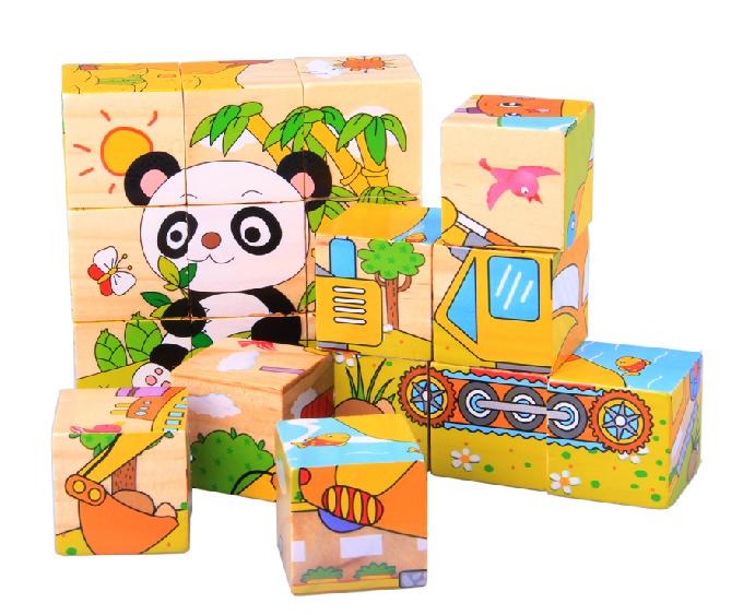 立体拼图6面画木质大颗粒拼图木制积木儿童益智力玩具拼图