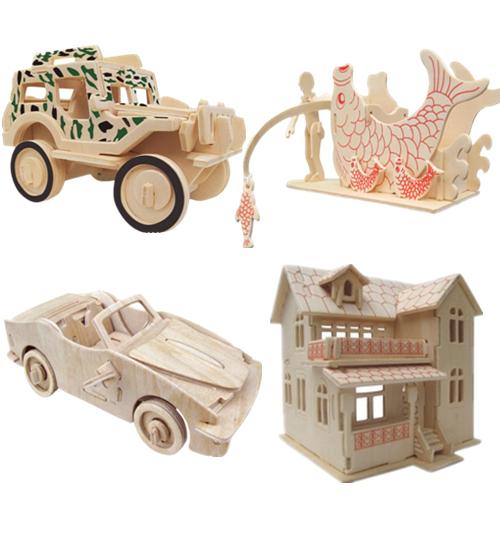 80 ☆ 天天特价木质3d立体拼图 儿童益智拼图智力玩具木制房屋建筑
