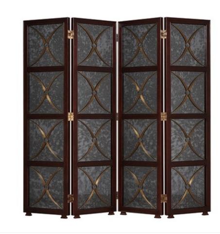 新古典镜面屏风欧式后现代折屏隔断实木座屏插屏挂屏挂画玻璃屏风