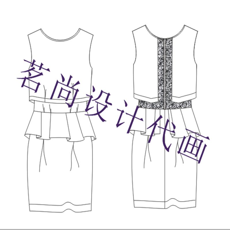 代画服装款式图服装效果图设计手稿服装 手稿 线稿cdr ai ps格式