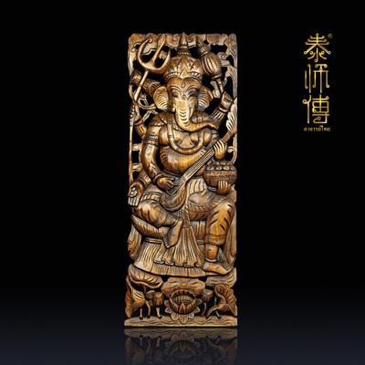 泰国柚木雕花板 东南亚实木镂空雕刻壁饰