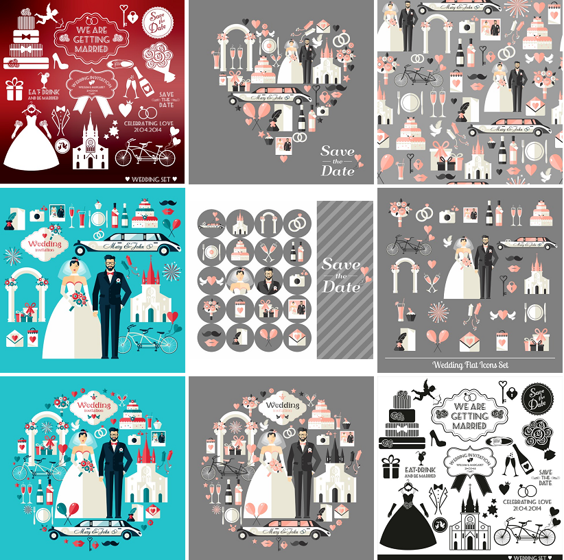 婚礼婚纱车红酒杯包装设计卡片封面背景