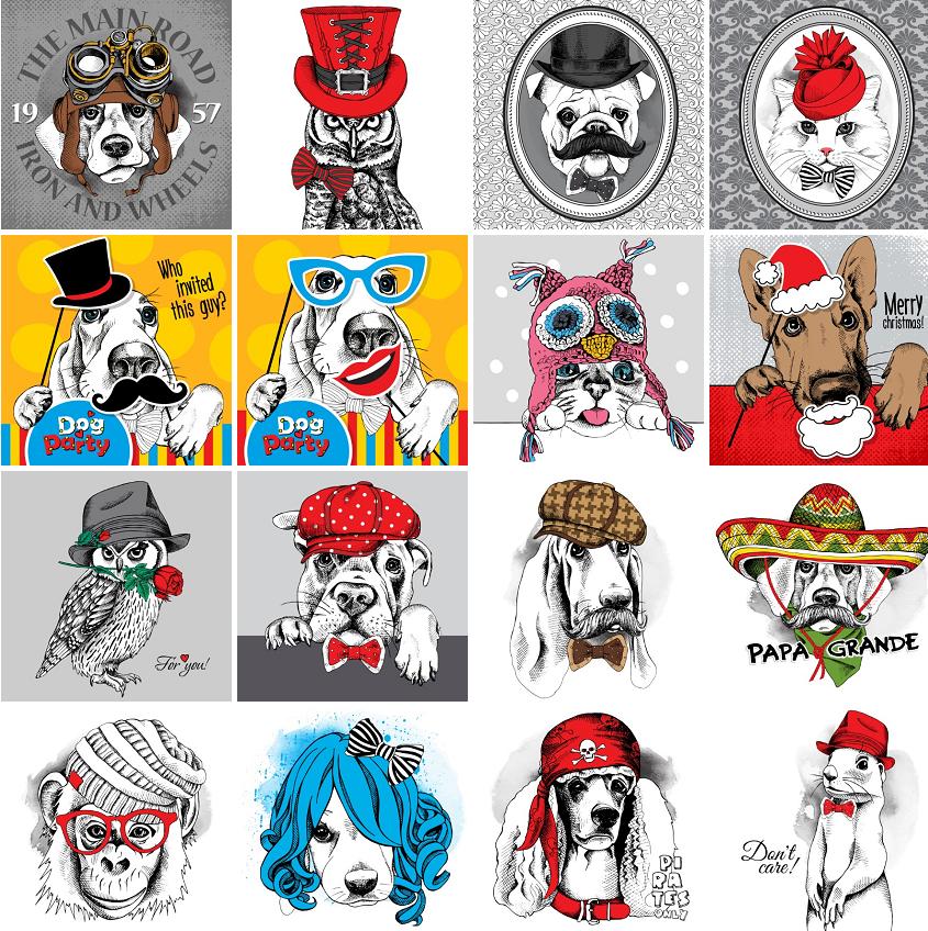 时尚手绘线描圣诞时装可爱小狗动物头像插画