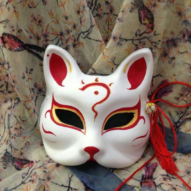 动漫手绘和风日式古典手工艺猫脸狐狸面具