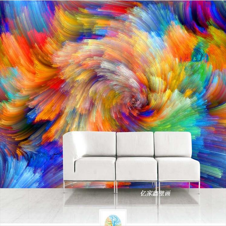 彩绘艺术抽象背景壁纸主题健身房个性时尚大型无缝壁画墙纸3d墙布