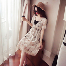 Long section of the beach skirt female summer 2018 new Sanya was thin seaside holiday lace dress suit two sets