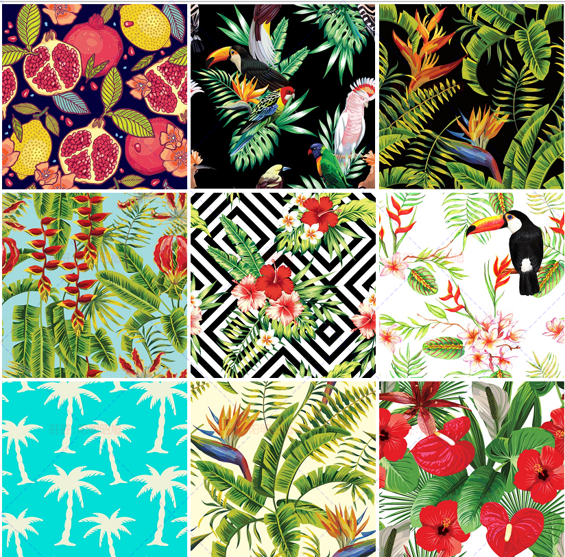 新热带雨林风水彩插画背景eps矢量格式ai源文件素材