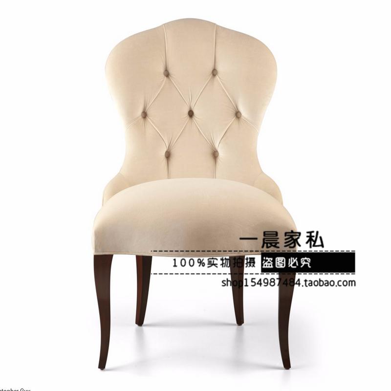 美式复古做旧实木餐椅简约休闲布艺单人椅欧式酒店会所咖啡厅餐椅