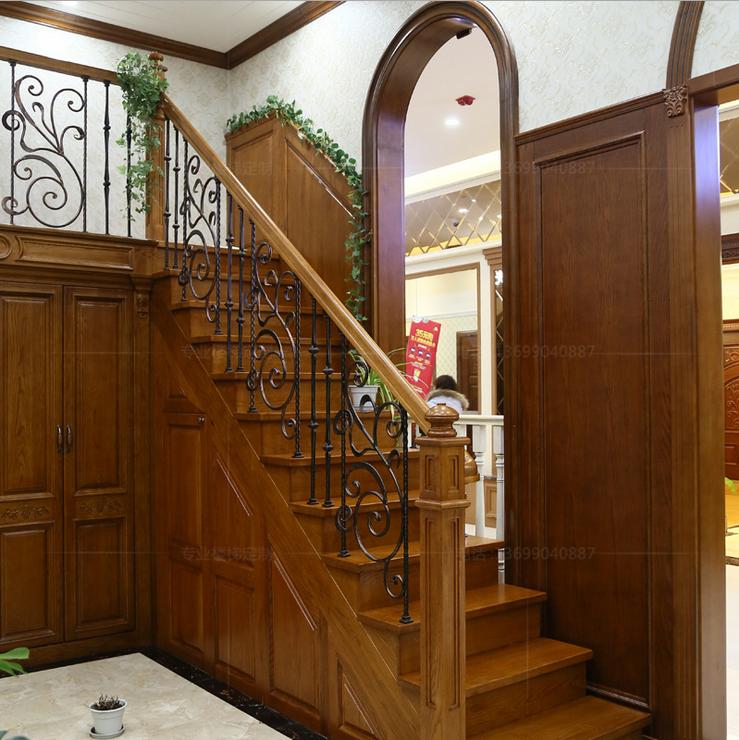成都实木楼梯定做铁艺护栏扶手立柱厂家直销实体验货高品质楼梯