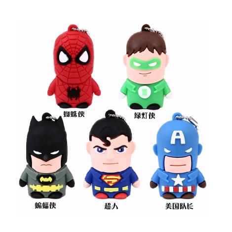 超级英雄美国队长蜘蛛侠 蝙蝠侠超人u盘32g 可爱卡通创意 高速3.图片