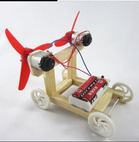 科技空气动力小车 diy小制作小发明双翼风力车益智
