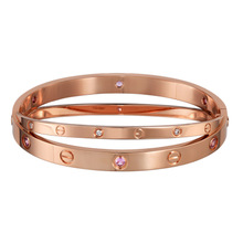 Cartier/Cartier Love Collection 18K Rose Gold Powder Sapphire Inlay Bracelet N6705917