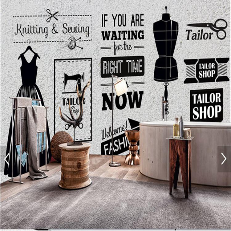 复古砖墙3d壁画服装美发店形象背景墙壁纸客厅工作室卧室自粘墙纸