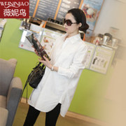 Vanessa birds in autumn and winter new white shirt sleeved dress codes in Korean large long loose cotton blouse