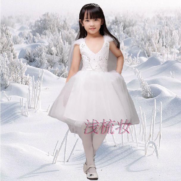 春夏天新款手工钉珠儿童婚纱礼服短裙摄影表演婚礼聚会生日公主裙