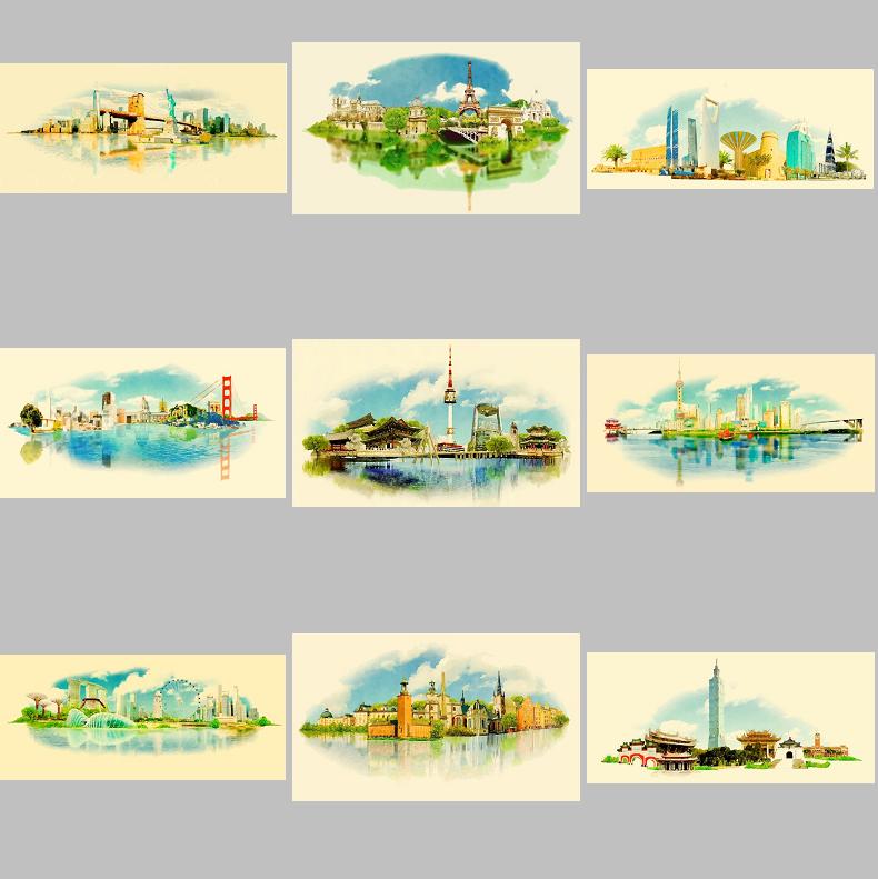 水彩中国世界建筑自然风景城市建筑速写参考图 eps矢量设计素材