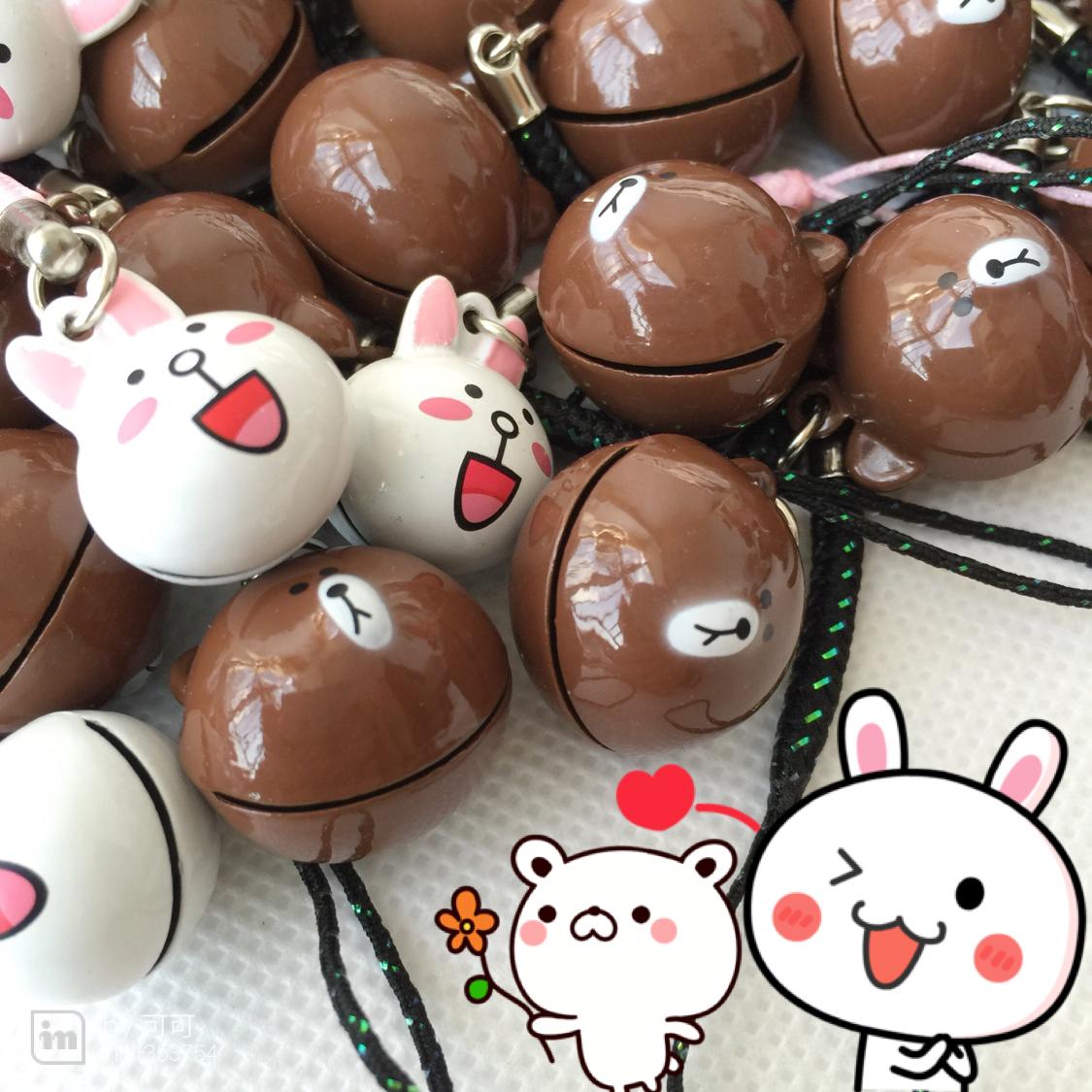 韩国line连我可爱布朗熊可妮兔铃铛小挂件金属手机链