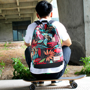 Stamp backpack female Korean canvas schoolbag students men and women sports computer backpack large capacity travel bag tide