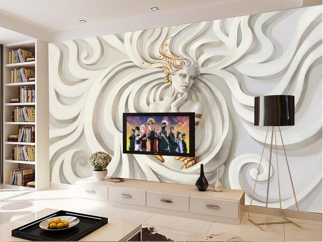 最新欧式浮雕美女壁画电视背景墙客厅沙发背景墙纸