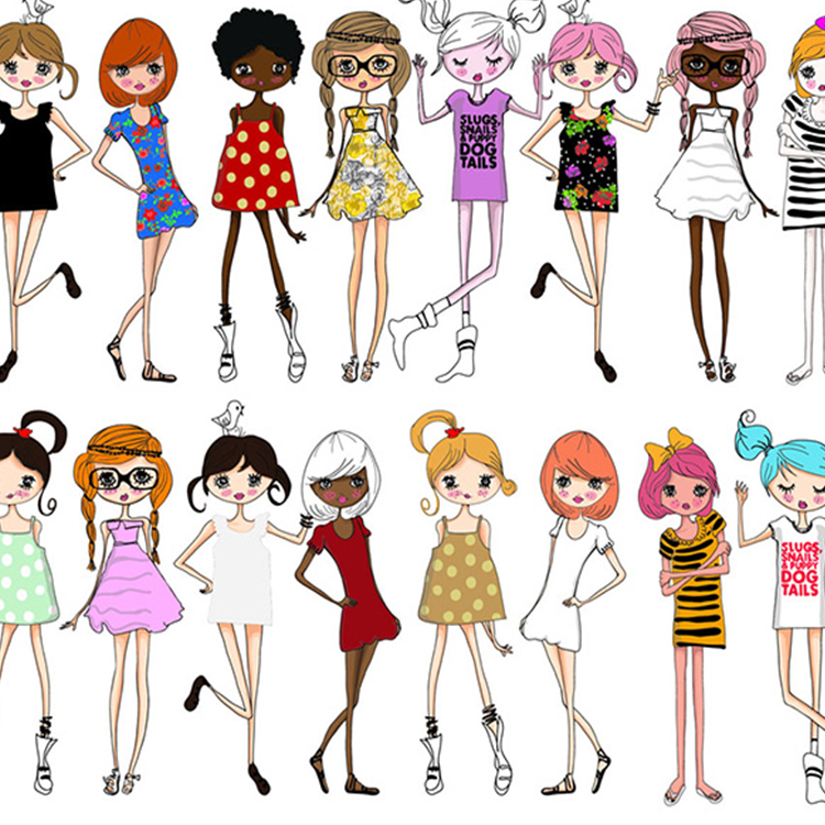时尚卡通美女矢量图 插画卡通素材 高挑线条美女时尚购物图 ai019
