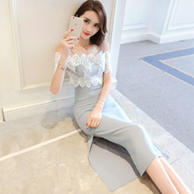 One shoulder suit lace dress female summer 2018 new sexy strapless chic strap dress two-piece