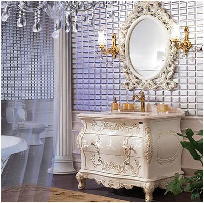 欧式浴室柜 仿古实木雕花大理石落地双盆卫浴组合