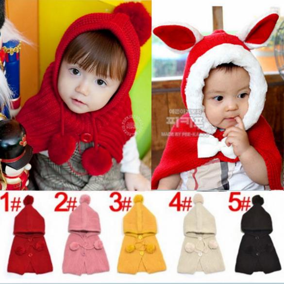 秋冬季儿童围脖针织毛线帽宝宝婴儿保暖披肩连体围巾