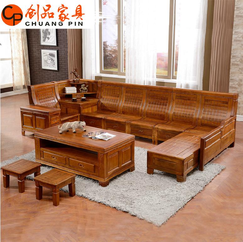 实木沙发组合转角贵妃l型 客厅家具 中式储物香樟木沙发特价包邮