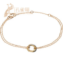 Cartier Cartier TRINITY Tri-color Gold Ring Details Rose Gold Chain Bracelet B6036818