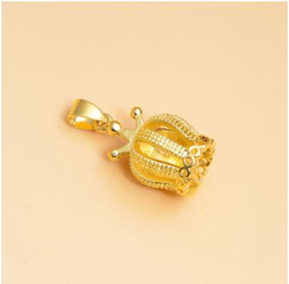 黄金时尚饰品 欧币项链皇冠吊坠 超久保色黄铜镀金淘宝热卖4063