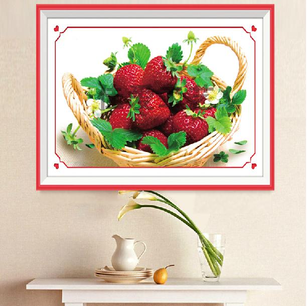 钻石画5d十字绣香甜诱惑甜蜜水果篮草莓餐厅系列钻石