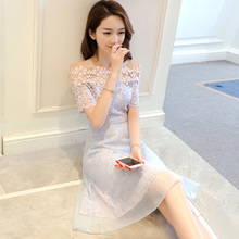 A word shoulder lace dress 2018 fashion women's new spring and summer sexy care machine strapless gauze skirt