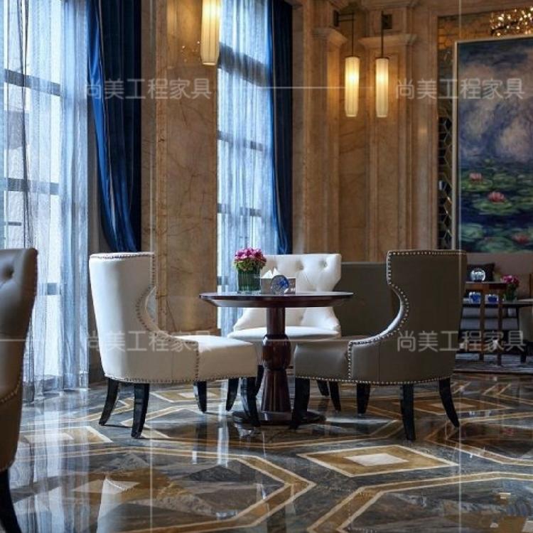 欧式实木售楼处洽谈桌椅组合酒店大堂美式售楼部接待