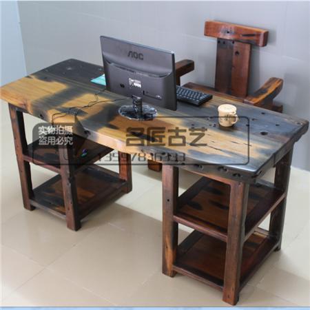老船木办公桌古旧实木办公台老板书桌原生态会议桌电脑独板大板台